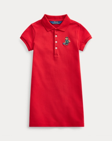 폴로 랄프로렌 여아용 원피스 Polo Ralph Lauren Tartan Bear Mesh Polo Dress,RL 2000 Red