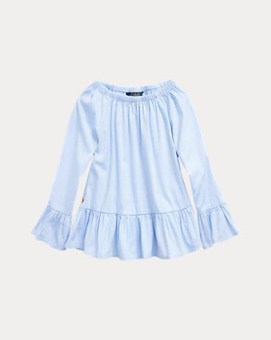 폴로 랄프로렌 여아용 옥스포드 티셔츠 Polo Ralph Lauren Cotton Oxford Bell-Sleeve Top,Blue Hyacinth