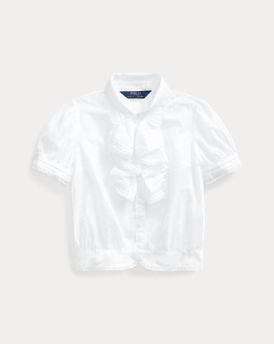 폴로 랄프로렌 Polo Ralph Lauren Ruffled Cotton Batiste Top,White