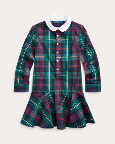 폴로 랄프로렌 여아용 원피스 Polo Ralph Lauren Plaid Cotton Poplin Shirtdress,Navy Green Multi