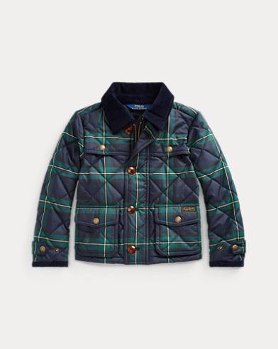 폴로 랄프로렌 여아용자켓  Polo Ralph Lauren Tartan Quilted Barn Jacket,Navy Green Multi