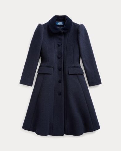 폴로 랄프로렌 여아용 코트 Polo Ralph Lauren Wool-Blend Princess Coat,Navy