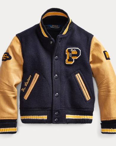 폴로 랄프로렌 여아용 자켓 Polo Ralph Lauren Wool-Leather Letterman Jacket,Navy/Tan