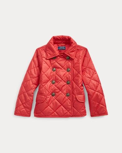 폴로 랄프로렌 여아용 자켓 Polo Ralph Lauren Quilted Double-Breasted Jacket,Deep Orangey Red