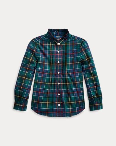 폴로 랄프로렌 Polo Ralph Lauren Plaid Cotton Poplin Shirt,Green Navy Multi