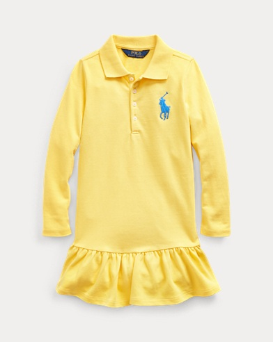 폴로 랄프로렌 여아용 원피스 Polo Ralph Lauren Big Pony Mesh Polo Dress,Sunfish Yellow
