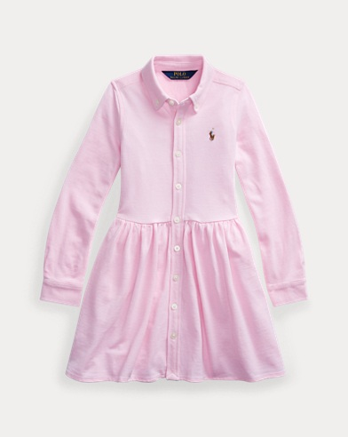 폴로 랄프로렌 여아용 원피스 Polo Ralph Lauren Knit Oxford Shirtdress,Carmel Pink/White