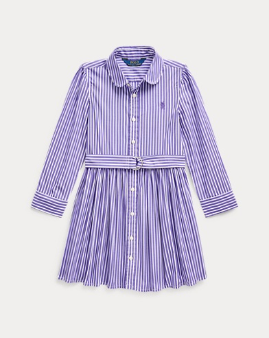 폴로 랄프로렌 여아용 셔츠원피스 Polo Ralph Lauren Striped Cotton Shirtdress,Purple/White