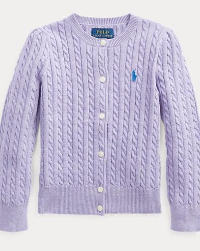 폴로 랄프로렌 여아용 꽈배기 코튼 가디건 - 라이트 퍼플 Polo Ralph Lauren Cable-Knit Cotton Cardigan