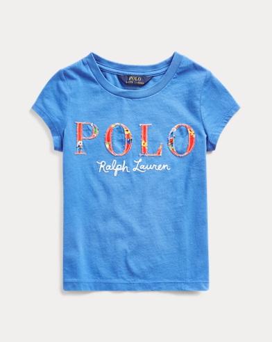 폴로 랄프로렌 여아용 티셔츠 Polo Ralph Lauren Floral-Logo Cotton Jersey Tee,Colby Blue