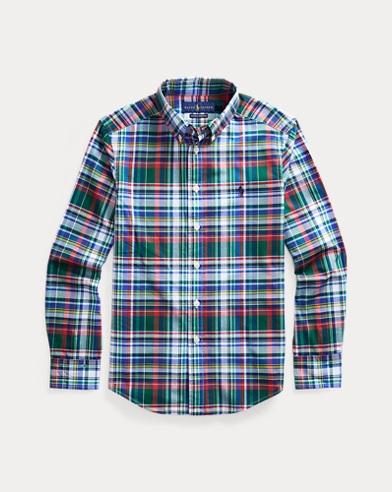 폴로 랄프로렌 보이즈 셔츠 Polo Ralph Lauren Plaid Cotton Poplin Shirt,Green/Red Multi