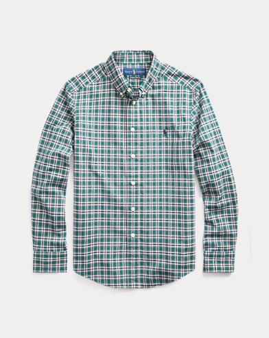 폴로 랄프로렌 보이즈 셔츠 Polo Ralph Lauren Plaid Cotton Poplin Shirt,Green/Navy Multi