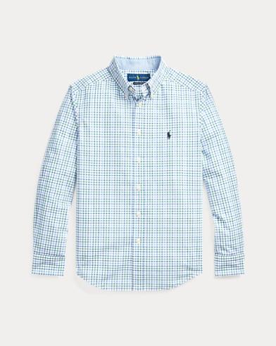 폴로 랄프로렌 보이즈 셔츠 Polo Ralph Lauren Plaid Cotton Poplin Shirt,White/Navy