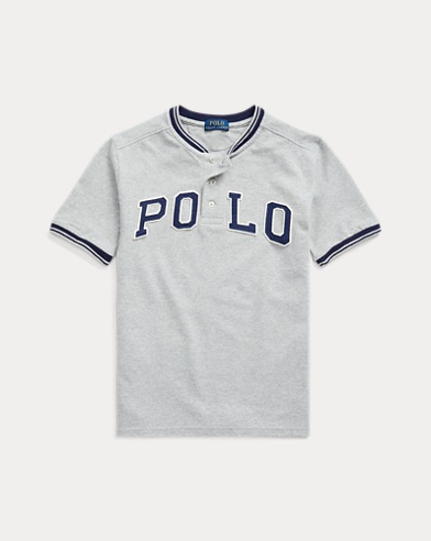 폴로 랄프로렌 보이즈 폴로 셔츠 Polo Ralph Lauren Cotton Mesh Henley Shirt,Light Grey Heather