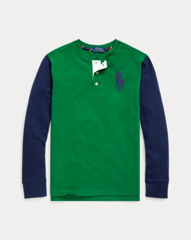 폴로 랄프로렌 보이즈 폴로 셔츠  Polo Ralph Lauren Cotton Mesh Henley Shirt,Athletic Green