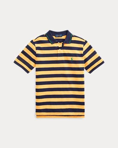 폴로 랄프로렌 Polo Ralph Lauren Striped Cotton Mesh Polo Shirt,Gold Bugle Multi