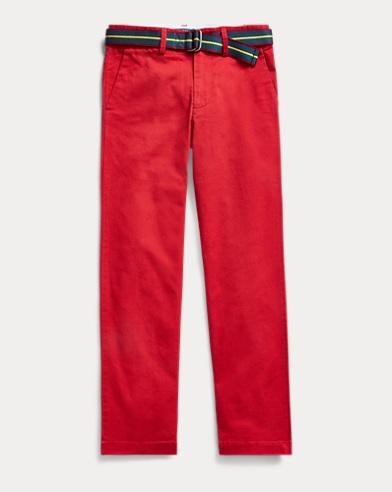 폴로 랄프로렌 보이즈 스키니 치노팬츠 Polo Ralph Lauren Belted Stretch Skinny Chino,Camden Red