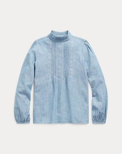 폴로 랄프로렌 Polo Ralph Lauren Pintucked Cotton Chambray Top,Indigo