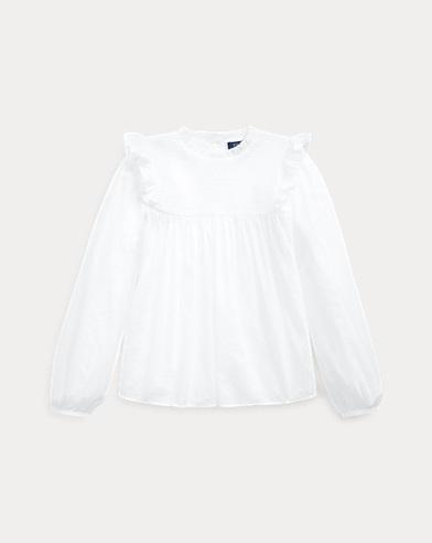 폴로 랄프로렌 걸즈 탑 Polo Ralph Lauren Smocked Cotton Batiste Top,White