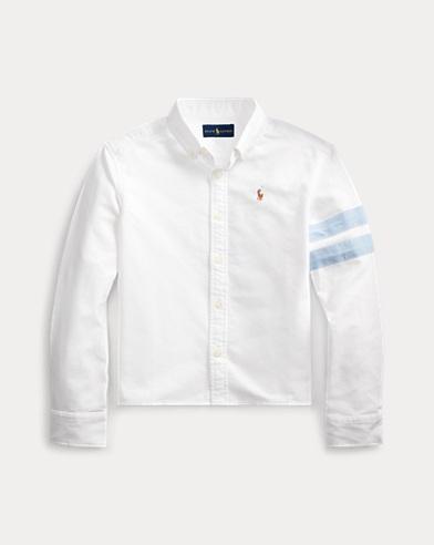 폴로 랄프로렌 Polo Ralph Lauren Cropped Cotton Graphic Oxford,Bsr White