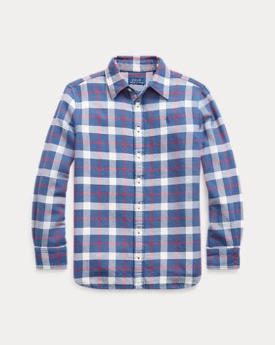 폴로 랄프로렌 Polo Ralph Lauren Plaid Cotton Twill Tunic,Blue/Red