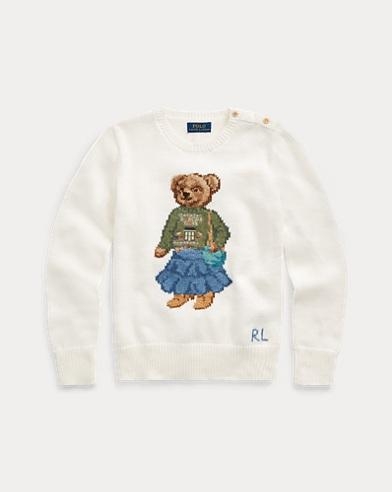 폴로 랄프로렌 Polo Ralph Lauren Santa Fe Bear Cotton Sweater,Trophy Cream