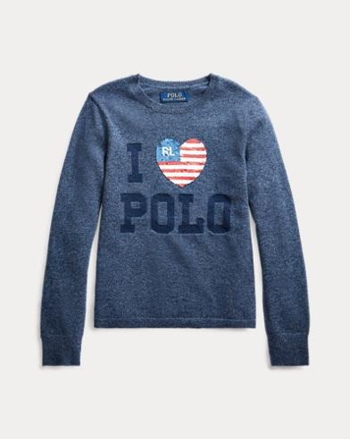 폴로 랄프로렌 걸즈 스웨터 Polo Ralph Lauren Sequined Wool-Blend Sweater,Indigo Heather