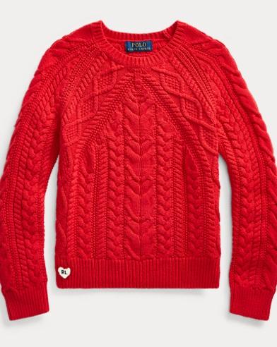 폴로 랄프로렌 Polo Ralph Lauren Aran-Knit Cotton Sweater,RL 2000 Red