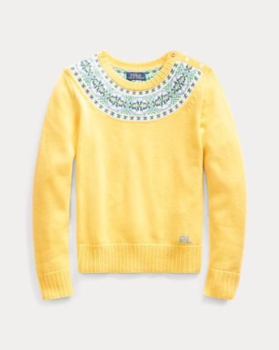 폴로 랄프로렌 Polo Ralph Lauren Fair Isle Cotton-Blend Sweater,Fall Yellow