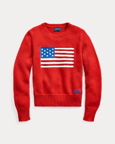 폴로 랄프로렌 Polo Ralph Lauren Flag Cotton Sweater,RL 2000 Red