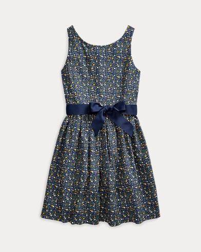 폴로 랄프로렌 걸즈 플로럴 포플린 원피스 Polo Ralph Lauren Floral Cotton Poplin Dress,Navy Floral