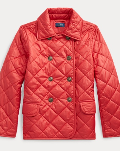 폴로 랄프로렌 걸즈 자켓 Polo Ralph Lauren Quilted Double-Breasted Jacket,Deep Orangey Red