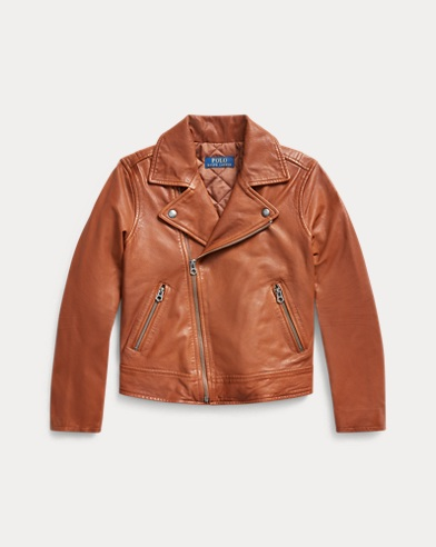 폴로 랄프로렌 걸즈 자켓 Polo Ralph Lauren Leather Moto Jacket,Brown