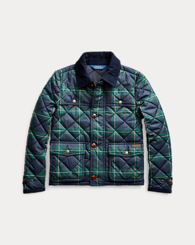 폴로 랄프로렌 걸즈 타탄 퀼팅 자켓 Polo Ralph Lauren Tartan Quilted Barn Jacket,Navy Green Multi