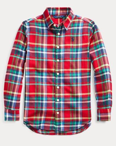 폴로 랄프로렌 Polo Ralph Lauren Plaid Cotton Twill Shirt,Red Blue Multi