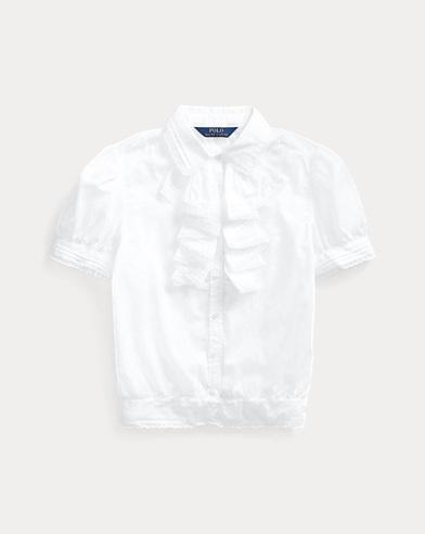 폴로 랄프로렌 걸즈 탑 Polo Ralph Lauren Ruffled Cotton Batiste Top,White