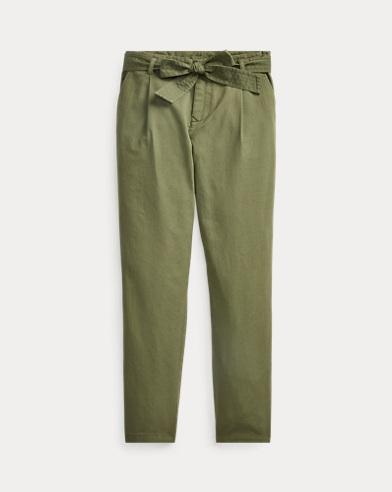 폴로 랄프로렌 걸즈 치노 팬츠 Polo Ralph Lauren Belted Cotton Chino Pant,Army Olive