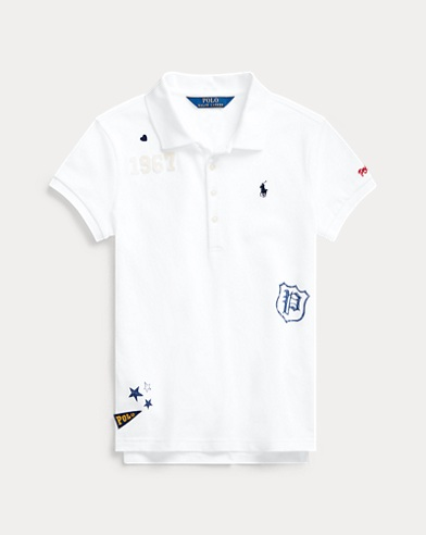 폴로 랄프로렌 걸즈 폴로 셔츠 Polo Ralph Lauren Graphic Stretch Mesh Polo,White