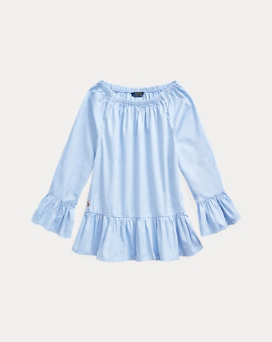 폴로 랄프로렌 걸즈 옥스포드 탑 Polo Ralph Lauren Cotton Oxford Bell-Sleeve Top,Blue Hyacinth