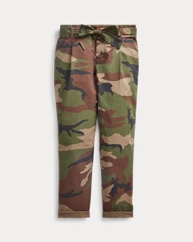 폴로 랄프로렌 걸즈 팬츠 Polo Ralph Lauren Belted Cotton Paperbag Pant,Camo