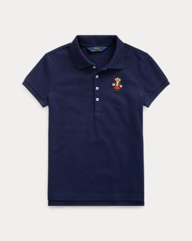 폴로 랄프로렌 걸즈 폴로 셔츠 Polo Ralph Lauren School Bear Stretch Mesh Polo,French Navy