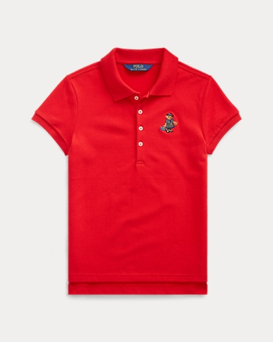 폴로 랄프로렌 걸즈 폴로 셔츠 Polo Ralph Lauren Tartan Bear Stretch Mesh Polo,RL 2000 Red
