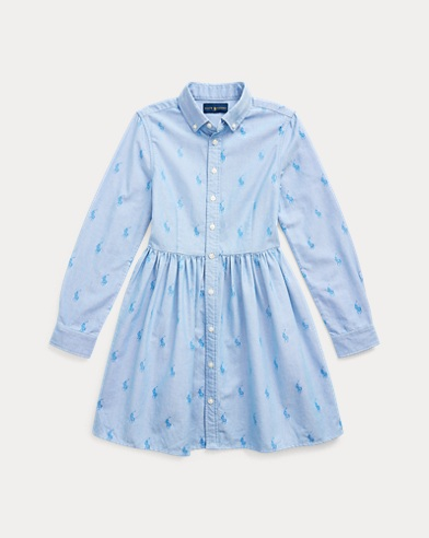 폴로 랄프로렌 걸즈 포니 코튼 셔츠원피스 Polo Ralph Lauren Pony Cotton Shirtdress,Oxford Blue