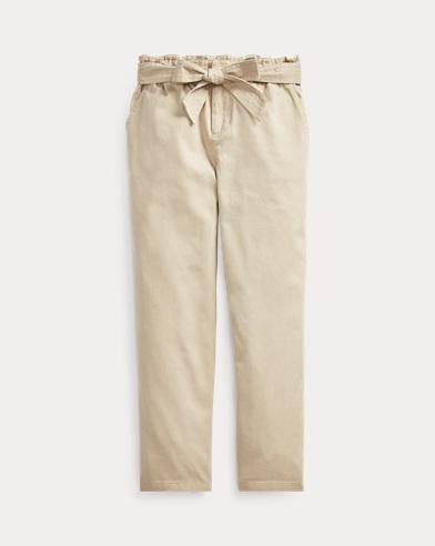 폴로 랄프로렌 걸즈 팬츠 Polo Ralph Lauren Belted Cotton Paperbag Pant,Classic Khaki