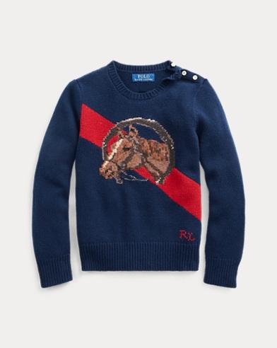 폴로 랄프로렌 Polo Ralph Lauren Horse Wool-Blend Sweater,RL Navy