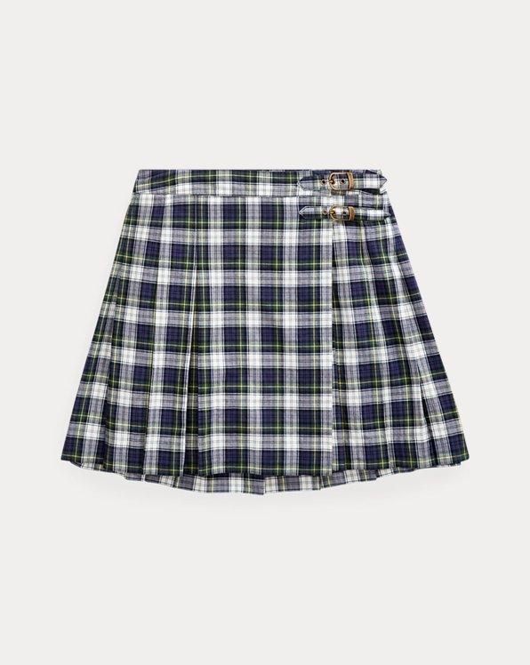 폴로 랄프로렌 걸즈 스커트 Polo Ralph Lauren Plaid Cotton Madras Skirt,Navy Green Multi