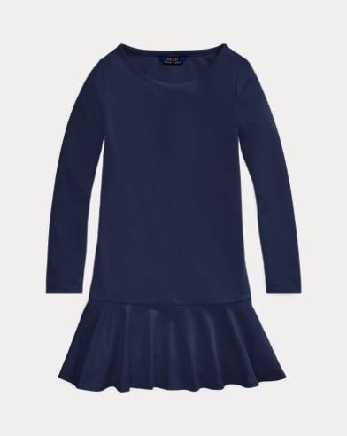 폴로 랄프로렌 걸즈 폰테 랩 원피스 Polo Ralph Lauren Ponte Drop-Waist Dress,French Navy