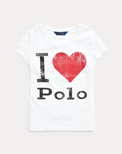 폴로 랄프로렌 걸즈 그래픽 티셔츠 Polo Ralph Lauren Cotton Jersey Graphic Tee,White-red