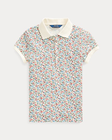 폴로 랄프로렌 걸즈 폴로 셔츠 Polo Ralph Lauren Floral Stretch Mesh Polo,Cream/Pink/Multi