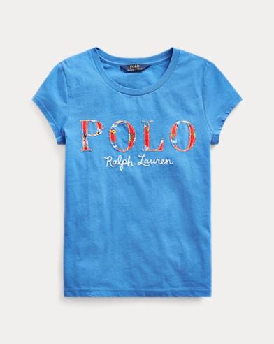 폴로 랄프로렌 걸즈 티셔츠 Polo Ralph Lauren Floral Logo Cotton Jersey Tee,Colby Blue